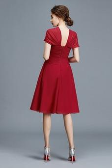 Vestido de madrina Corte-A Blusa plisada Hasta la Rodilla Escote en V