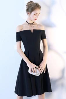 Vestido de cóctel Cremallera Corte-A Hasta la Rodilla Camiseta Manga corta