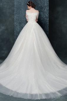 Vestido de novia Encaje Manga de longitud 3/4 tul Elegante Natural Camiseta