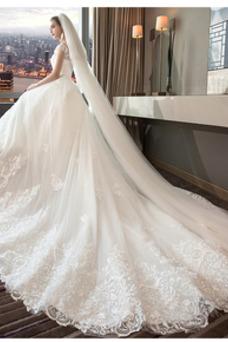 Vestido de novia Corte-A Hinchado Cola Real Manga tapada Natural Cordón