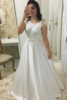 Vestido de novia Lazos Satén Arco Acentuado Joya Invierno largo