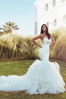 Vestido de novia sexy primavera Corte Sirena Cascada de volantes Sin mangas