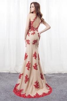 Vestido de noche Corte Sirena primavera Apliques Pera Escote con cuello Alto
