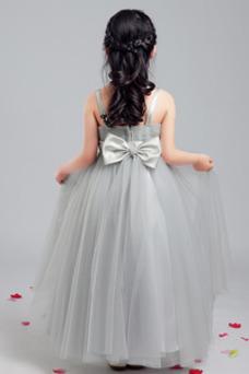 Vestido niña ceremonia Sin mangas Corte-A Arco Acentuado Elegante Hasta la Tibia