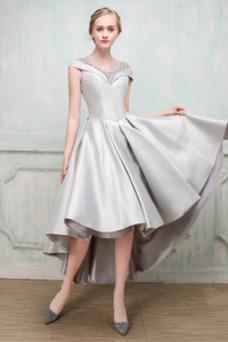 Vestido de cóctel Formal Abalorio Asimètrico Triángulo Invertido Natural