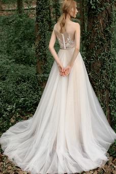 Vestido de novia tul Cola Barriba Sin mangas Falta Apliques Escote redondo