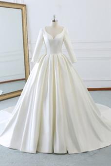 Vestido de novia Escote en V Corte-A Satén Elegante Natural Cremallera