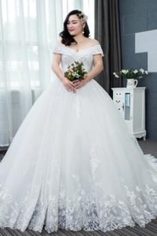 Vestido de novia Escote en V Corte-A Cordón Formal Baja escote en V