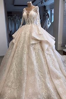 Vestido de novia vendimia Escote redondo Manga larga tul Mangas Illusion
