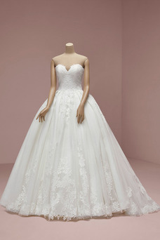 Vestido de novia Otoño Escote Corazón Encaje Elegante Natural Drapeado
