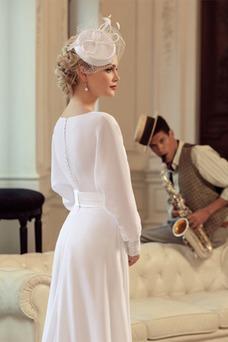 Vestido de novia Elegante Cremallera Fajas Barco Cola Barriba Gasa