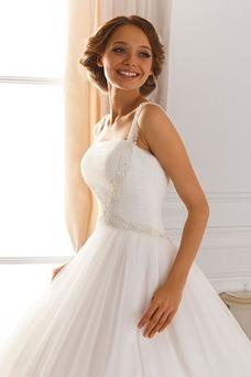Vestido de novia Escote de Tirantes Espaguetis Bola Cordón tul Iglesia