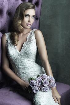 Vestido de novia Clasicos Abalorio Encaje Otoño Sin mangas Sala