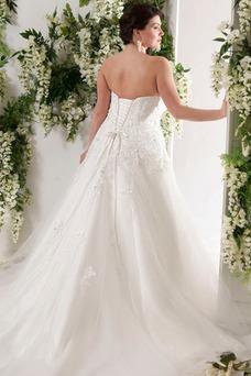 Vestido de novia Espalda Descubierta Otoño tul largo Corte-A Escote Corazón