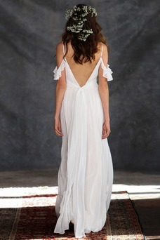 Vestido de novia Imperio Plisado Natural Cola Barriba Sin mangas Verano