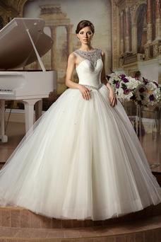 Vestido de novia Sin mangas Sala Joya Otoño Cintura Baja Cinturón de cuentas