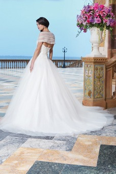 Vestido de novia Abalorio Playa Bola largo primavera Escote con Hombros caídos