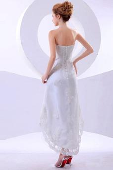 Vestido de novia Sin tirantes Alto Bajo Fuera de casa Asimètrico Verano