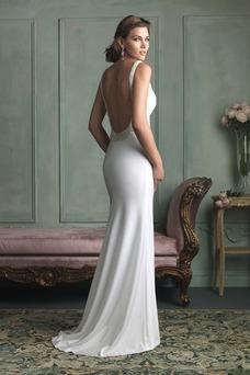 Vestido de novia Playa Cristal Corte Recto Satén Elástico Cinturón de cuentas