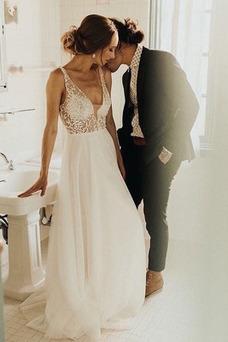 Vestido de novia tul primavera Corte-A Sin mangas Escote en V Cremallera