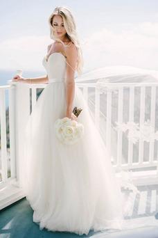 Vestido de novia Sin mangas Escote de Tirantes Espaguetis Cremallera