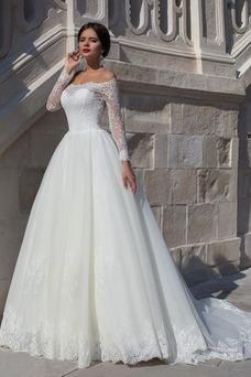 Vestido de novia Manga larga Encaje Moderno Escote con Hombros caídos
