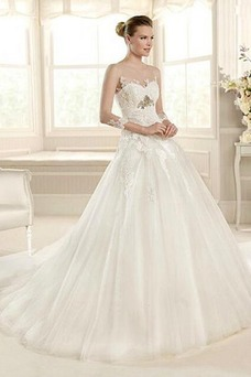 Vestido de novia Imperio Cintura Volantes Adorno Corte-A Cola Capilla