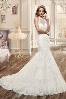 Vestido de novia Cola Capilla Otoño Cremallera Escote con cuello Alto