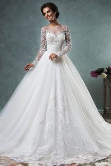 Vestido de novia Iglesia Encaje Natural Cremallera Otoño Manga larga