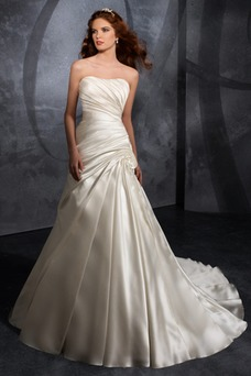 Vestido de novia Blusa plisada Reloj de Arena Espalda medio descubierto