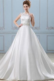 Vestido de novia Recatada Manzana Marfil Cremallera Un sólo hombro Sin mangas
