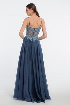 Vestido de fiesta largo Glamouroso Gasa Corte-A Capa de encaje Otoño