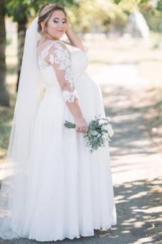 Vestido de novia Escote redondo Hasta el suelo Fuera de casa Apliques