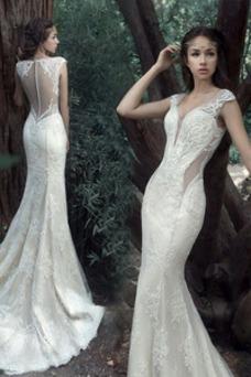 Vestido de novia Tallas pequeñas Pura espalda Sin mangas Natural Verano