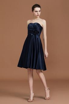 Vestido de dama de honor Corte-A Sin mangas Verano Satén Elástico Flores Natural
