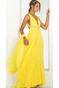 Vestido de fiesta Sin mangas Amarillo Hasta el suelo Abalorio Con Chal