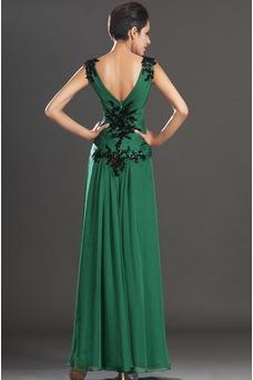 Vestidos de noche verde esmeralda Sin mangas Hasta el suelo Baja Escote en V
