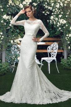 Vestido de novia Manga larga Corte Sirena Cola Capilla Alto cubierto