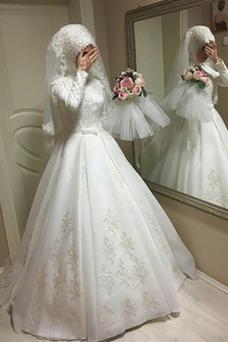 Vestido de novia Escote con cuello Alto Encaje Hasta el suelo Natural