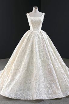 Vestido de novia largo Cordón Satén Escote Cuadrado Falta Invierno