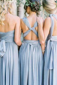 Vestido de dama de honor Blusa plisada Verano Sencillo Espalda Descubierta Triángulo Invertido