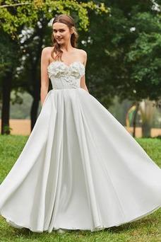 Vestido de novia Corte-A Sin mangas Triángulo Invertido Satén Espalda Descubierta