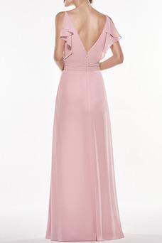 Vestido de dama de honor Corte-A Gasa Plisado Elegante Sin mangas Escote en V