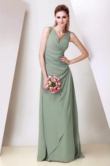 Vestido de dama de honor Corte-A Triángulo Invertido Elegante Cremallera Escote en V