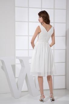 Vestido de dama de honor Gasa Plisado Escote en V Corte-A Espalda medio descubierto