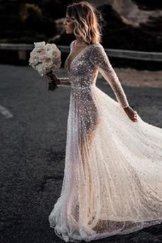 Vestido de novia Fuera de casa Manga larga Espalda Descubierta Otoño
