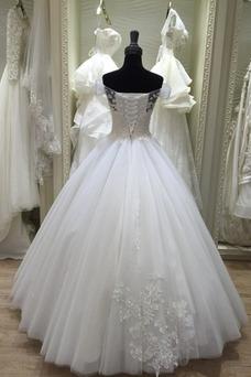 Vestido de novia Corte-A Botón Cordón Otoño Manga corta Escote con Hombros caídos