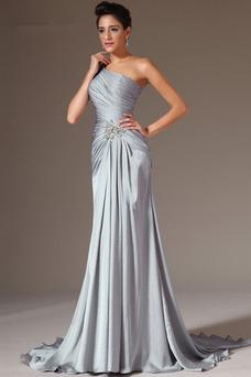 Vestido de noche Elegante Espalda medio descubierto Un sólo hombro Natural