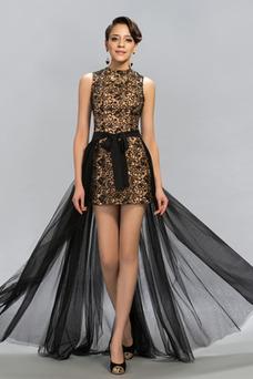 Vestido de fiesta Lazos Falta tul Natural Corte-A Escote con cuello Alto