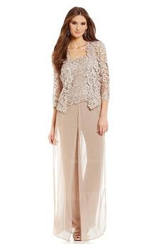 Vestido de madre traje de pantalones Manga de longitud 3/4 Alto cubierto Natural Hasta el Tobillo
